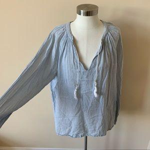 Boden micro stripe tassel tunic / blouse #7258